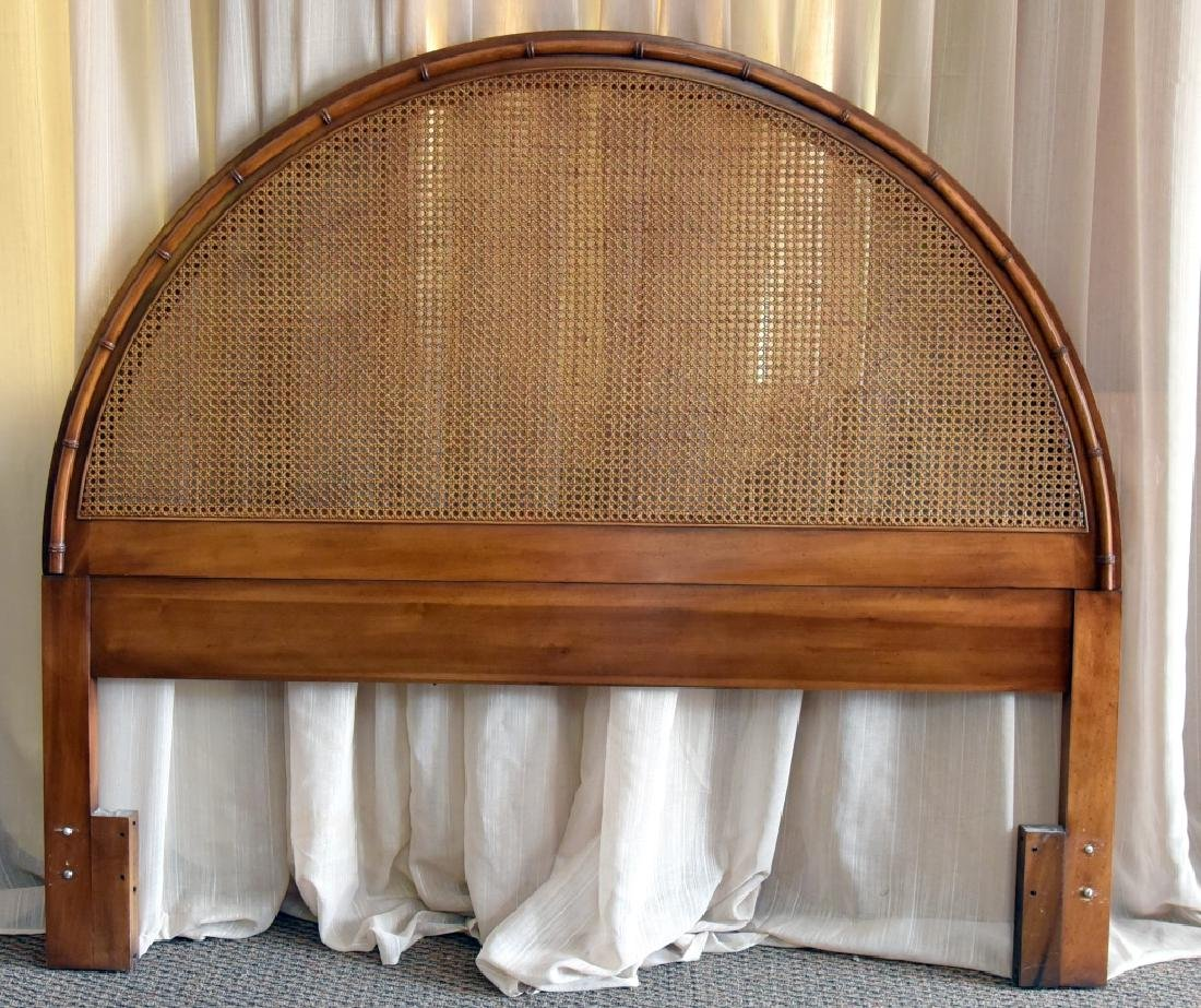 Arched Cane & Bamboo Design Queen-size Headboard