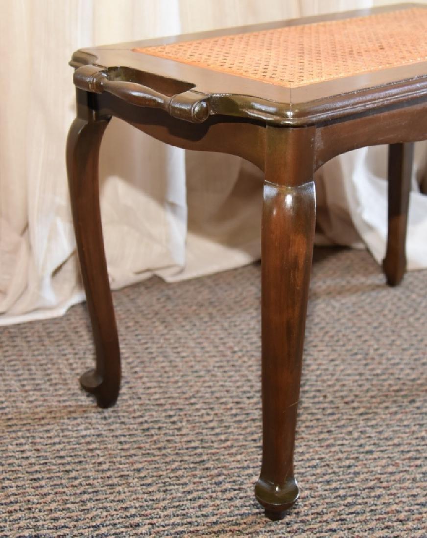 Vintage Cane Bench w/Side Handles - 2