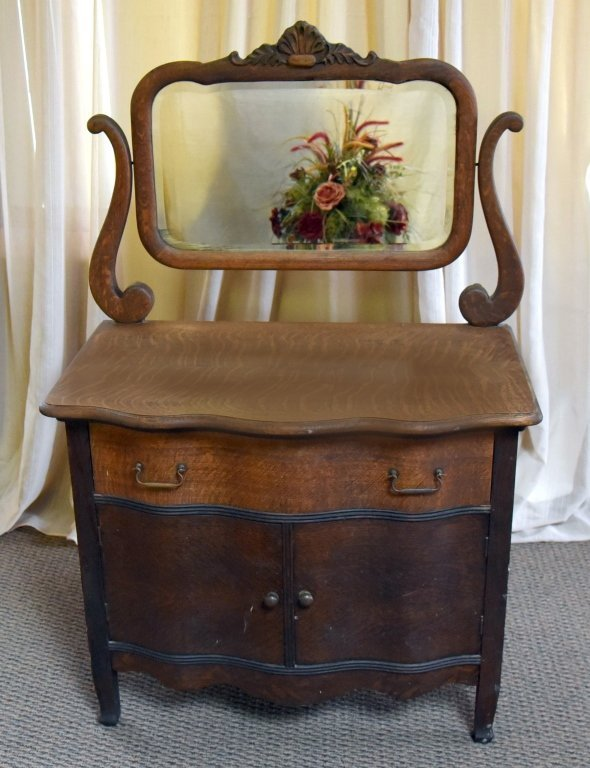 Oak Commode & Beveled Swing Mirror