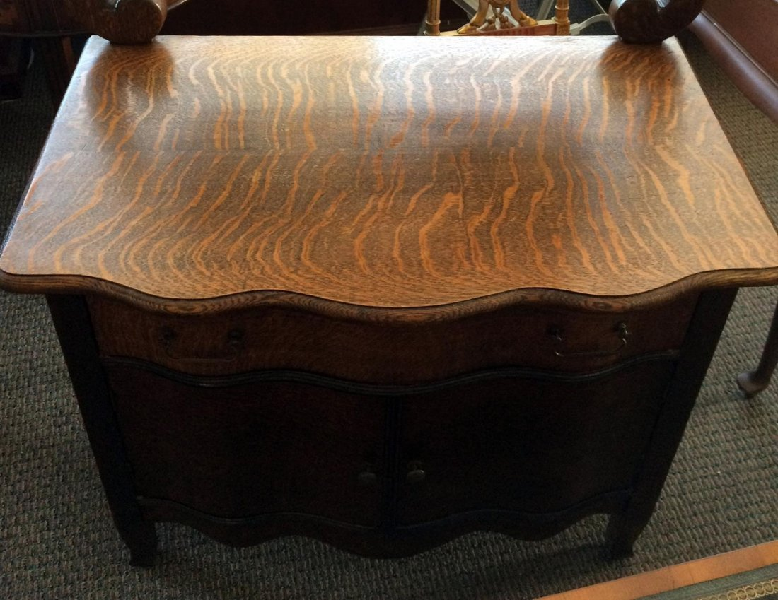 Oak Commode & Beveled Swing Mirror - 2