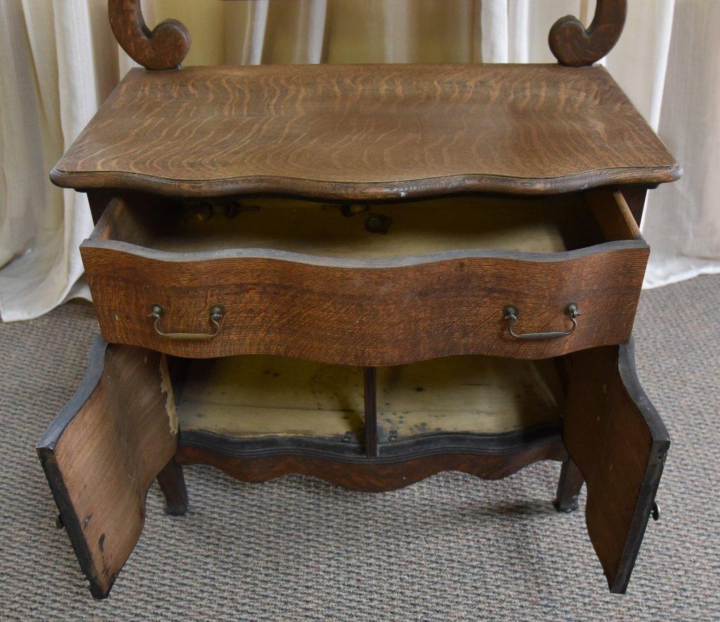 Oak Commode & Beveled Swing Mirror - 4