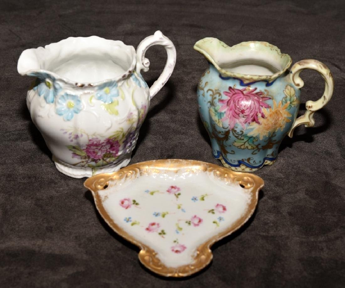 Ceramic Floral Decorated Pitchers & Pin Dish