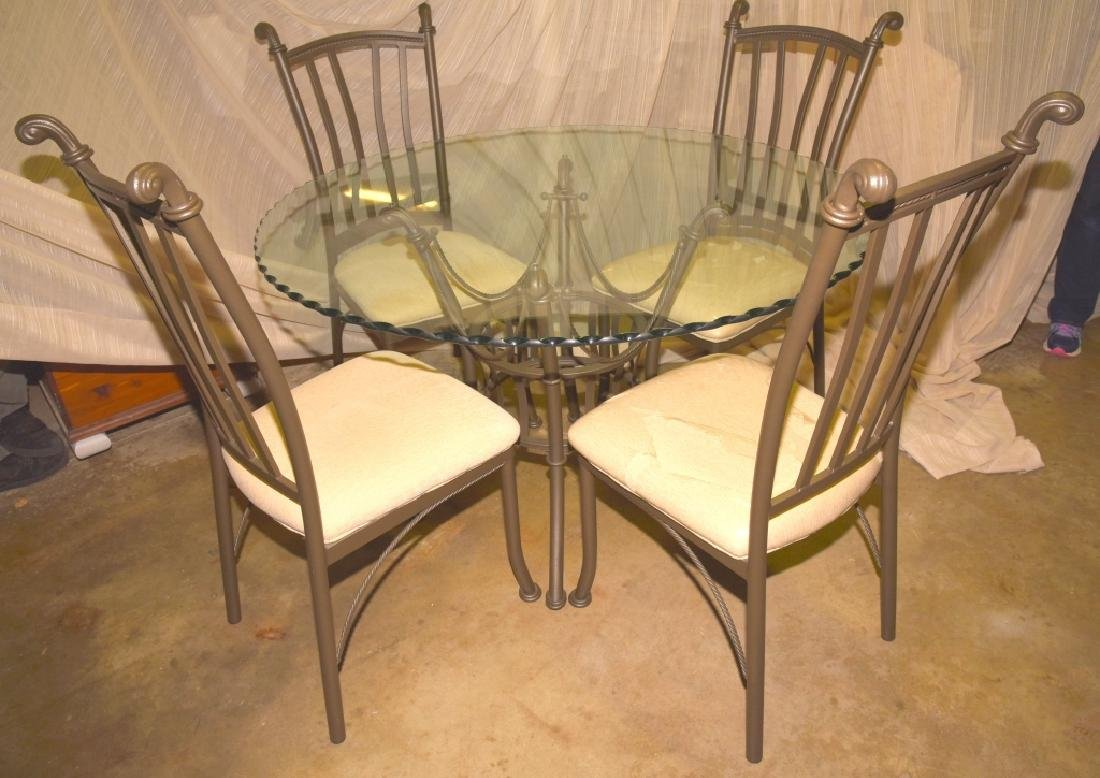 TradeMasters Glass/Metal Table & 4 Chairs