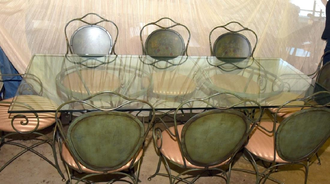 Glass Table w/2 Bases & 8 Chairs w/Painted Backs