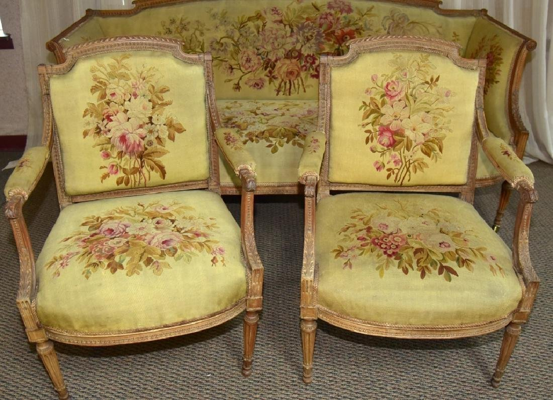 Louis XVI Style Canapé & 2 Matching Arm Chairs - 3