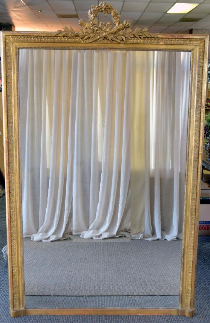 Gold Frame Pier Mirror w/Wreath Crest