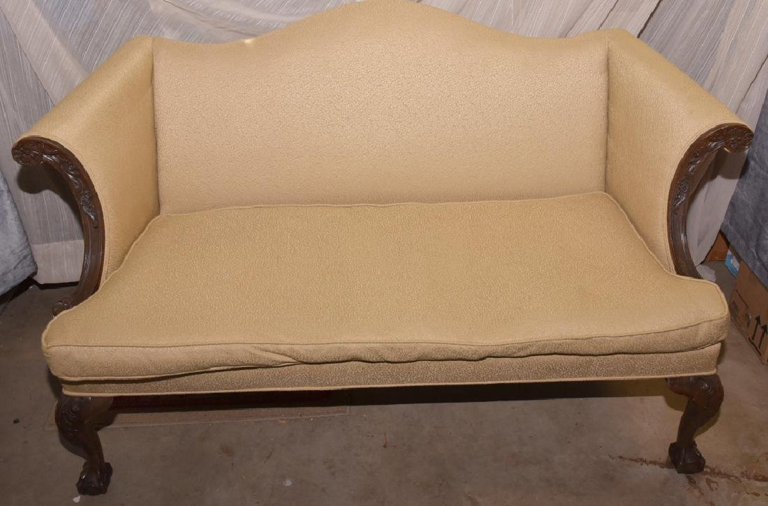 Vintage Carved One Cushion Settee