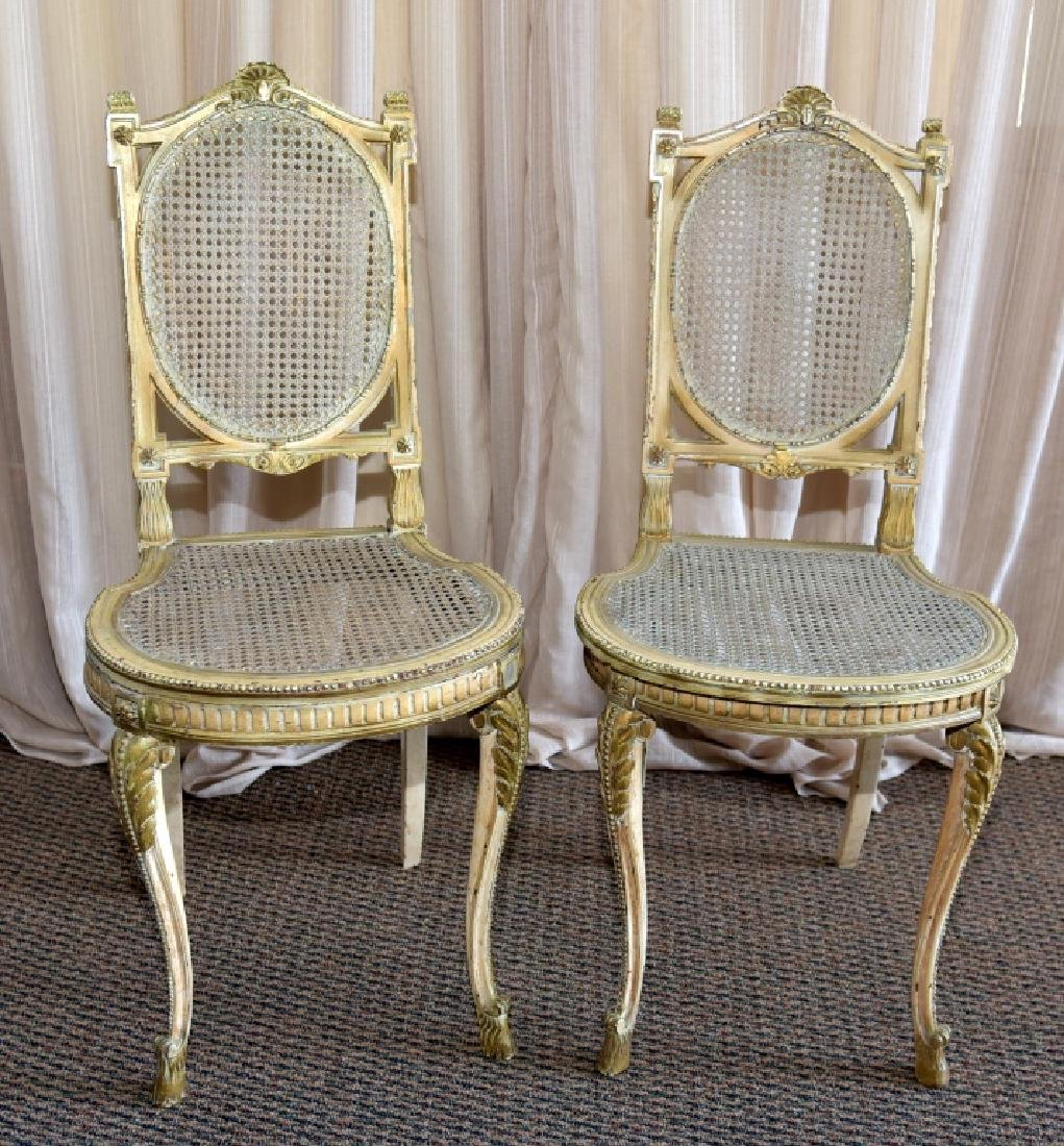 Pair Louis XV Chairs w/Cane Back & Seats