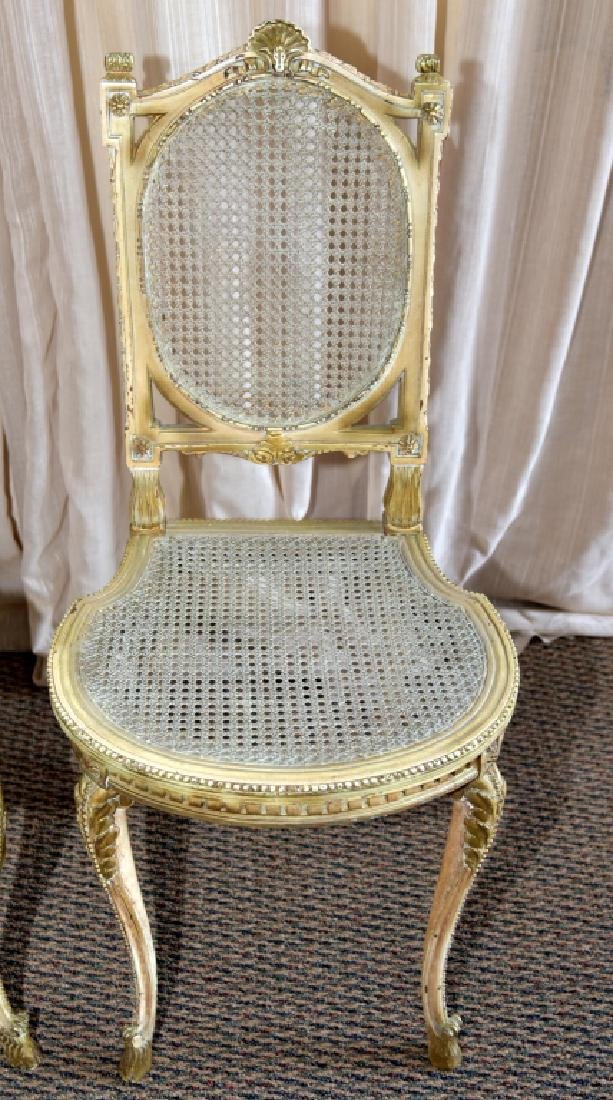 Pair Louis XV Chairs w/Cane Back & Seats - 2