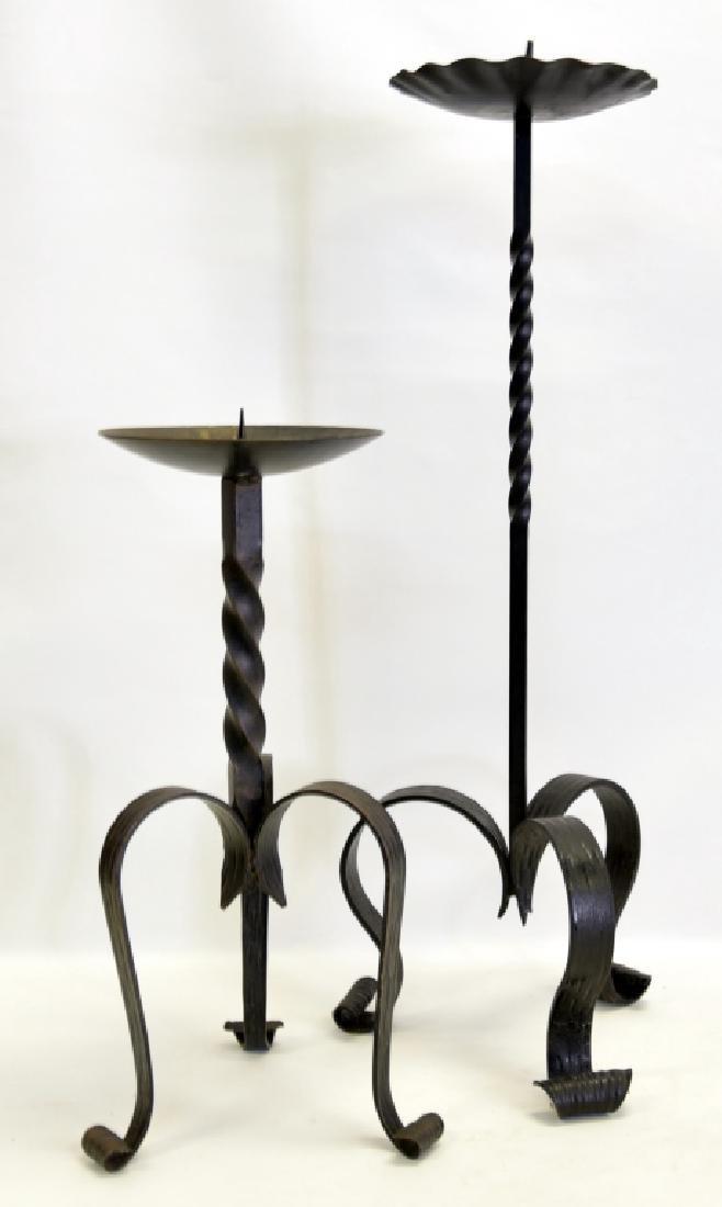 Two German Wrought Iron Pillar Candleholders