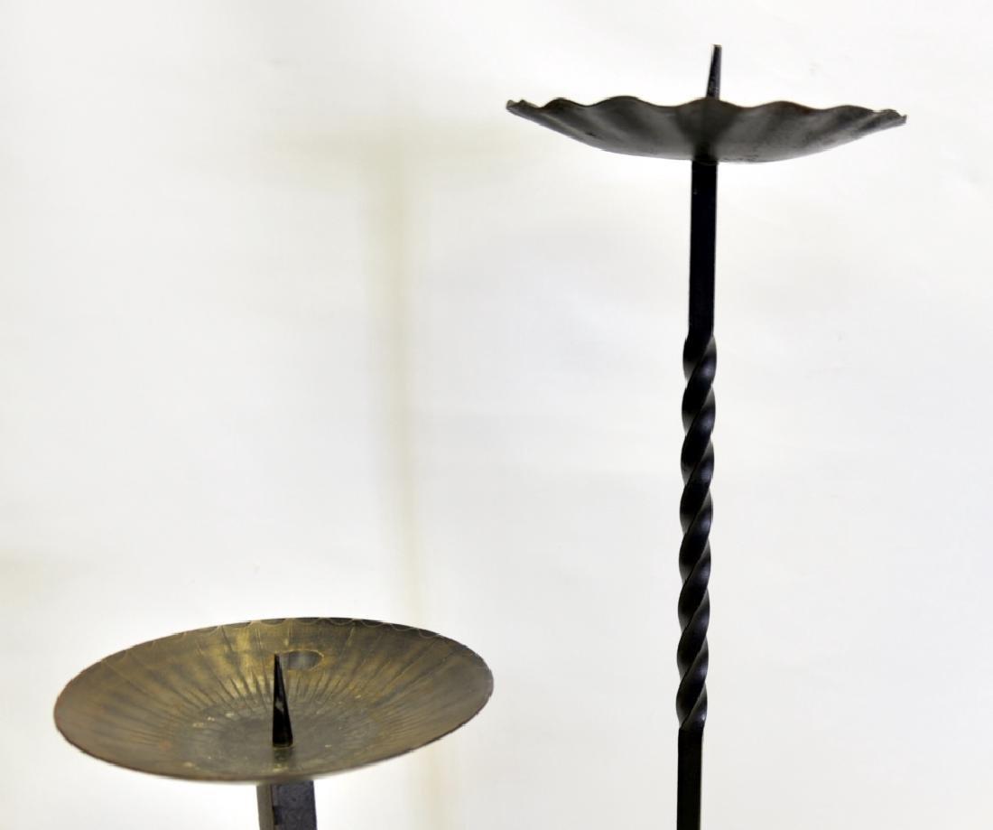 Two German Wrought Iron Pillar Candleholders - 2