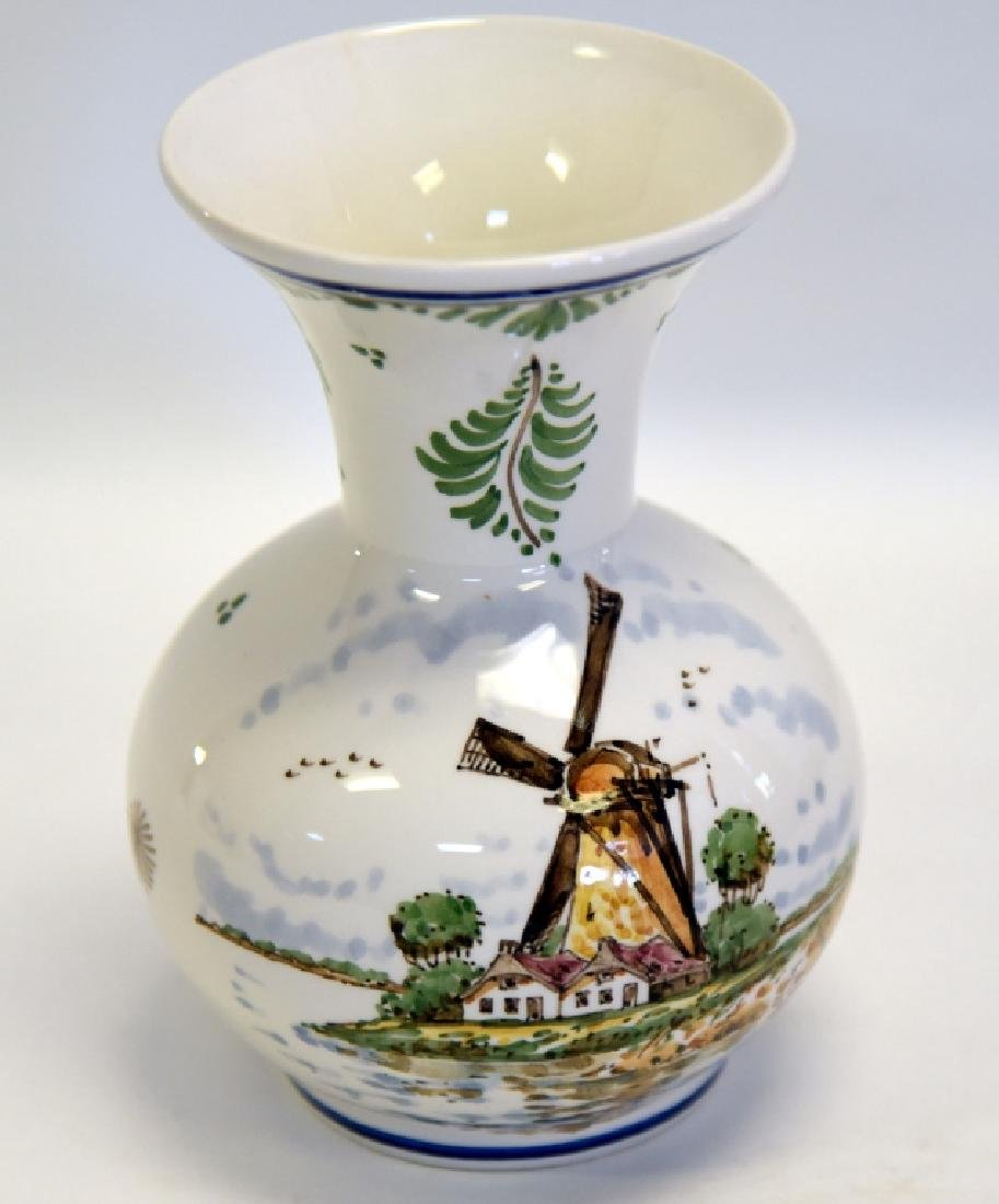 Delft Handpainted Polychrome Vase w/Flaring Neck