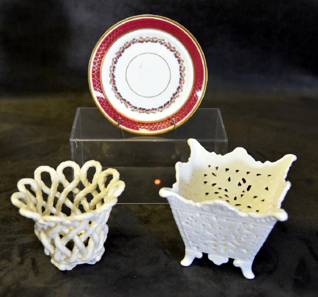 Pierced & Interlaced Planters & Porcelain Plate