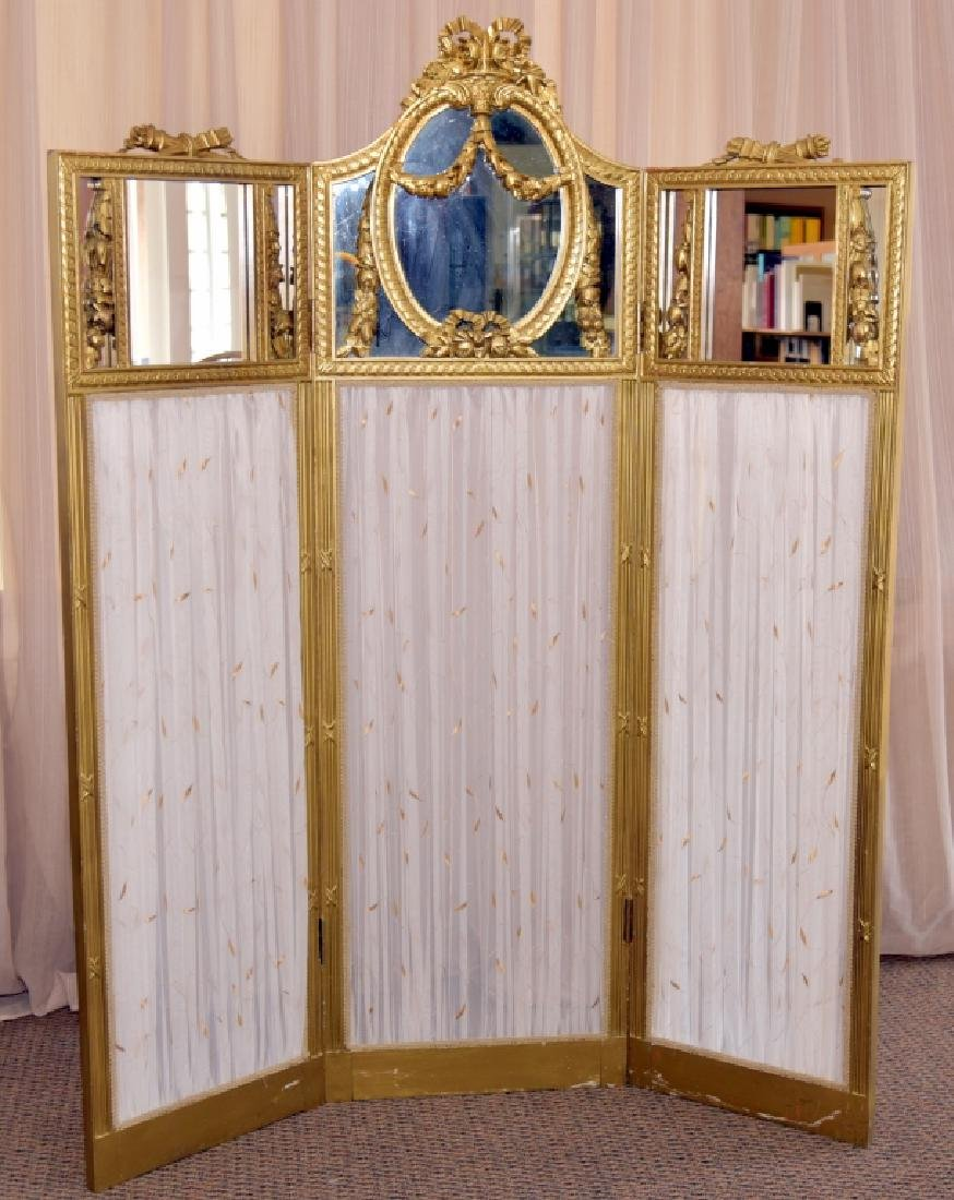 Vintage Classical Tri-Fold Screen w/Mirror Tops
