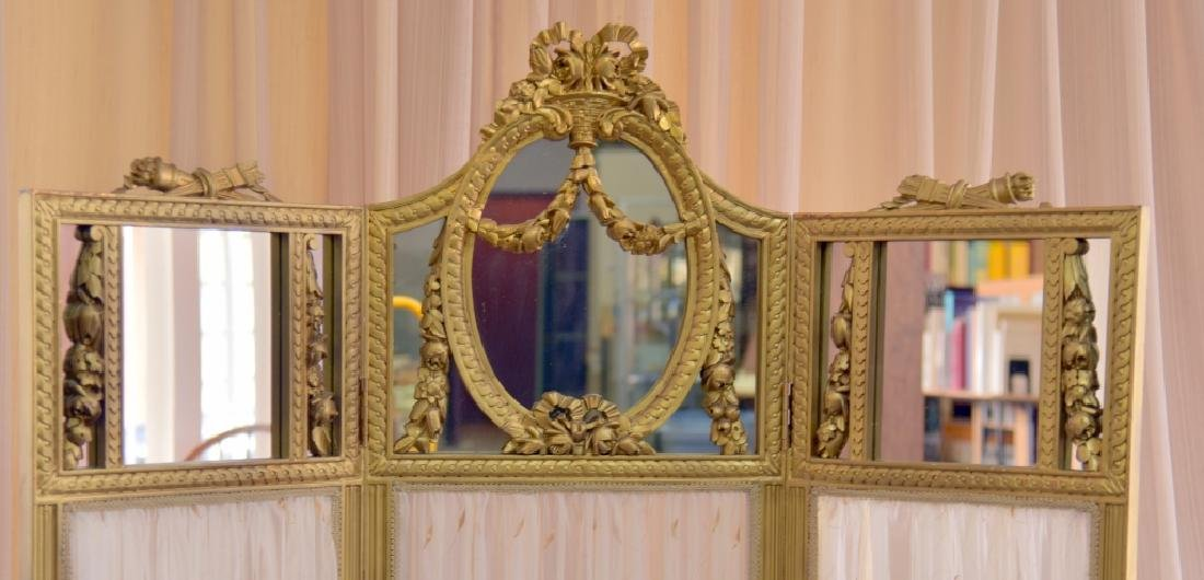 Vintage Classical Tri-Fold Screen w/Mirror Tops - 2