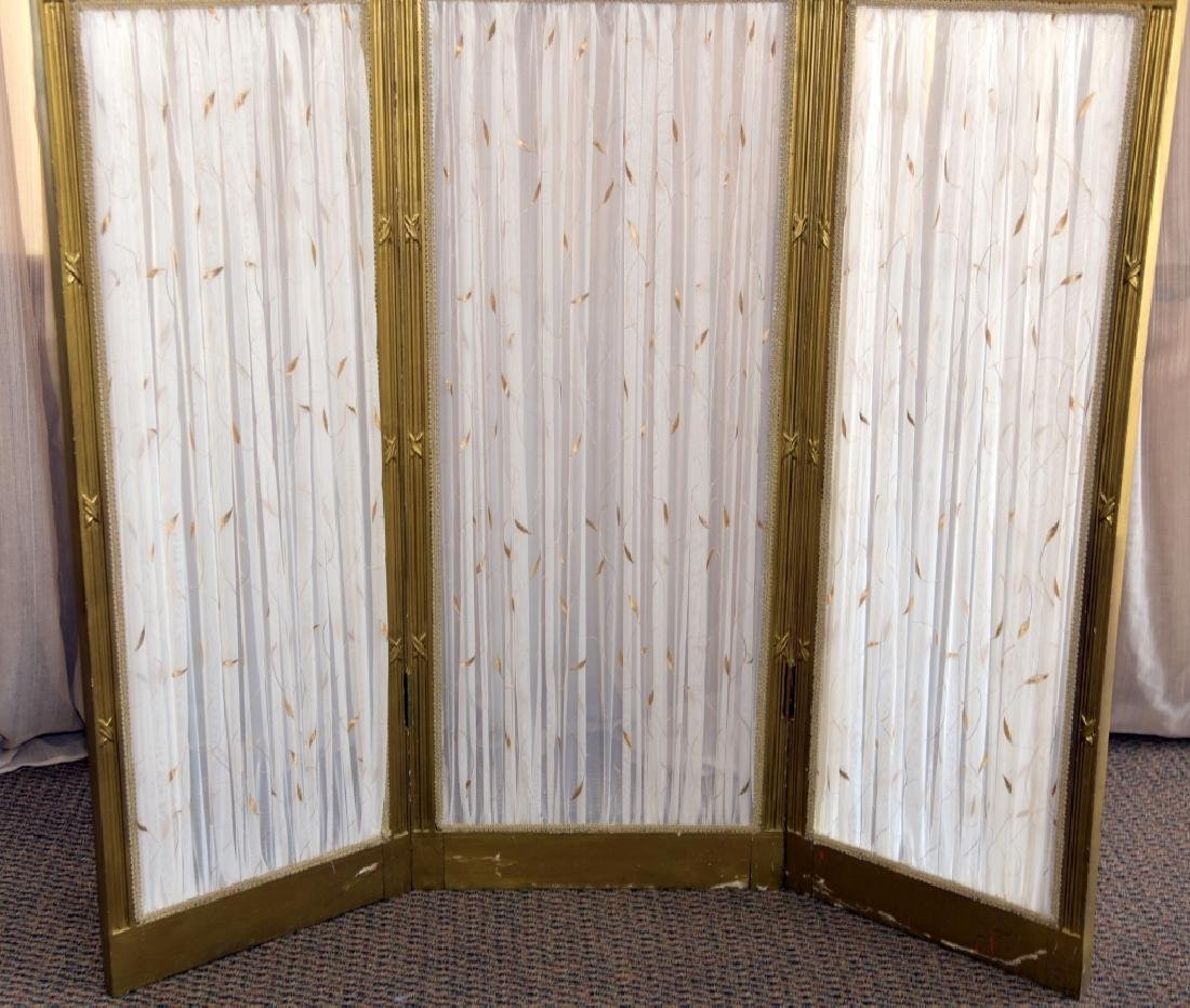 Vintage Classical Tri-Fold Screen w/Mirror Tops - 3