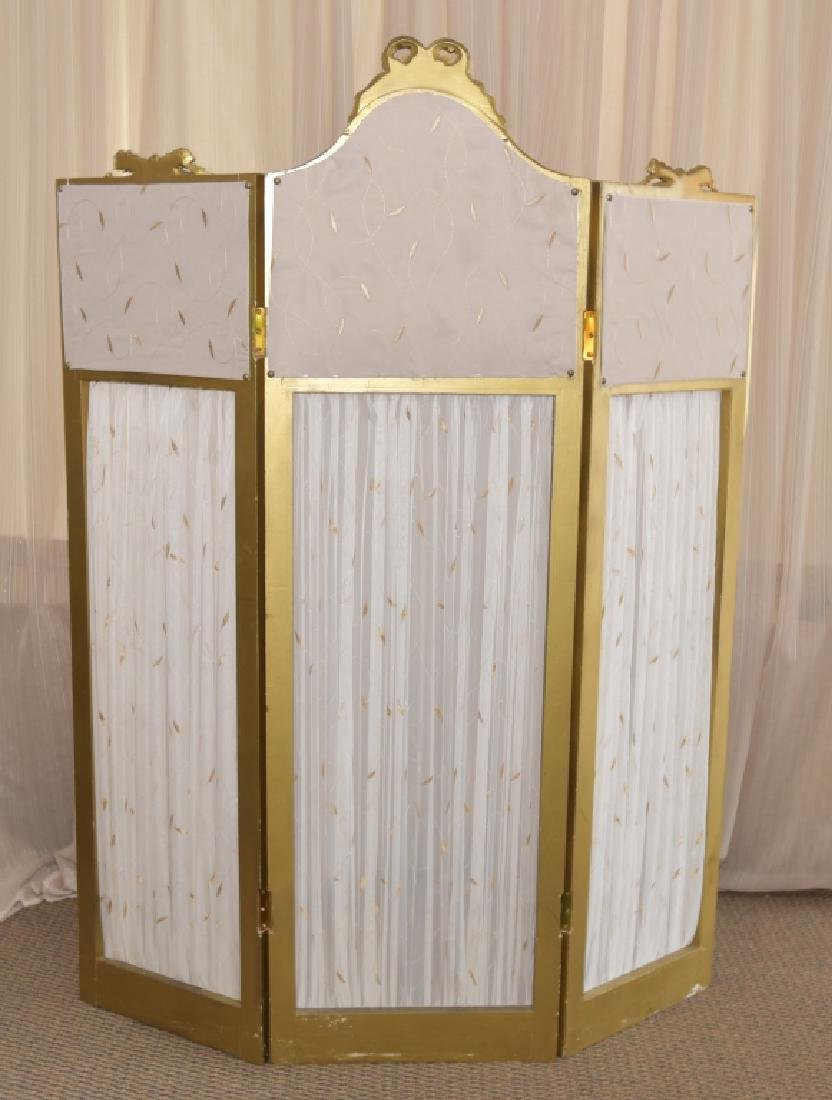 Vintage Classical Tri-Fold Screen w/Mirror Tops - 4