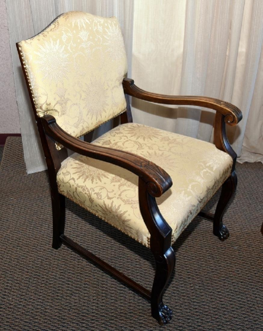 Vintage Carved Open Arm Chair w/Paw Feet