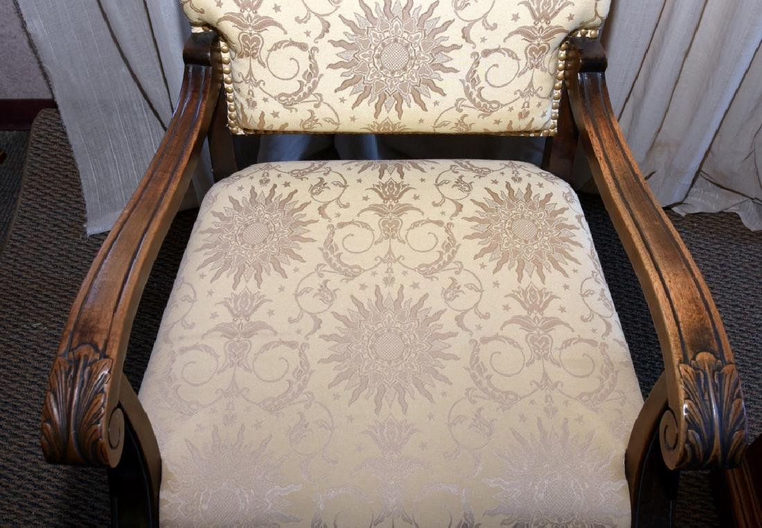 Vintage Carved Open Arm Chair w/Paw Feet - 2
