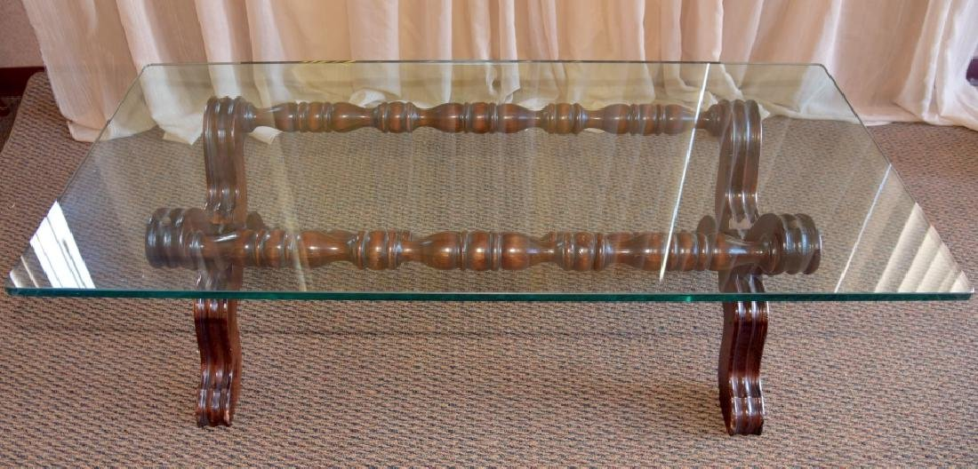 """Scrolling Table Base with 3/4"""" Glass Top"""