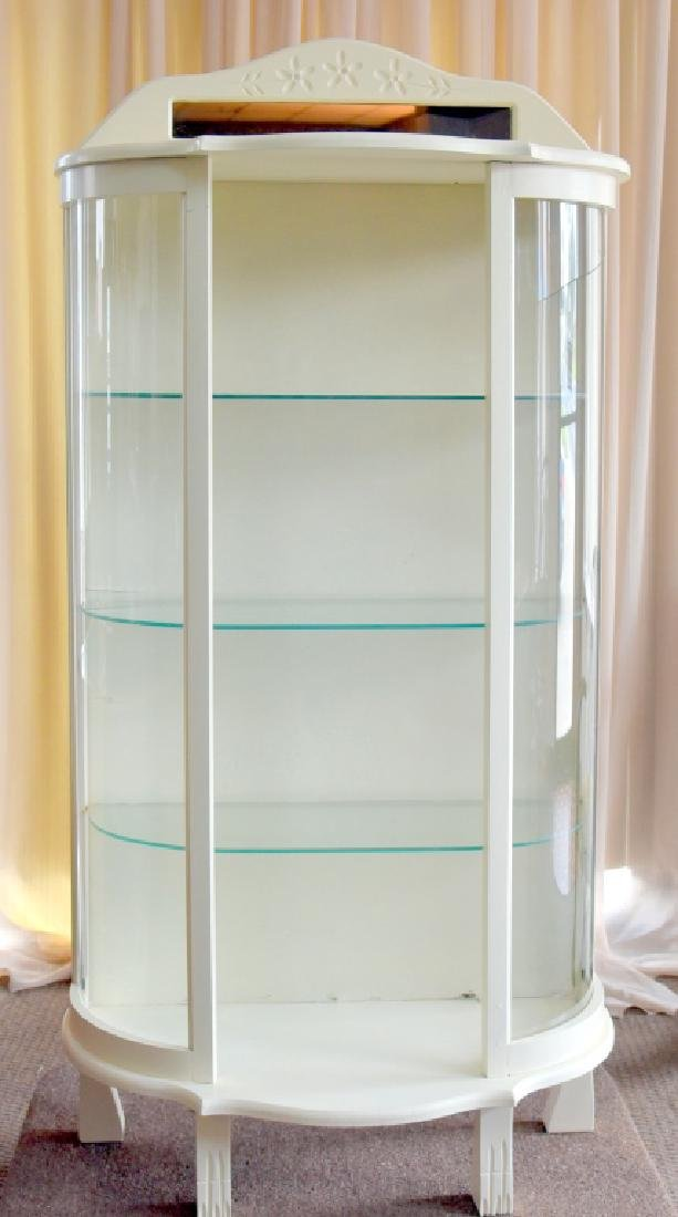 Vintage Painted White Curio/Display Cabinet