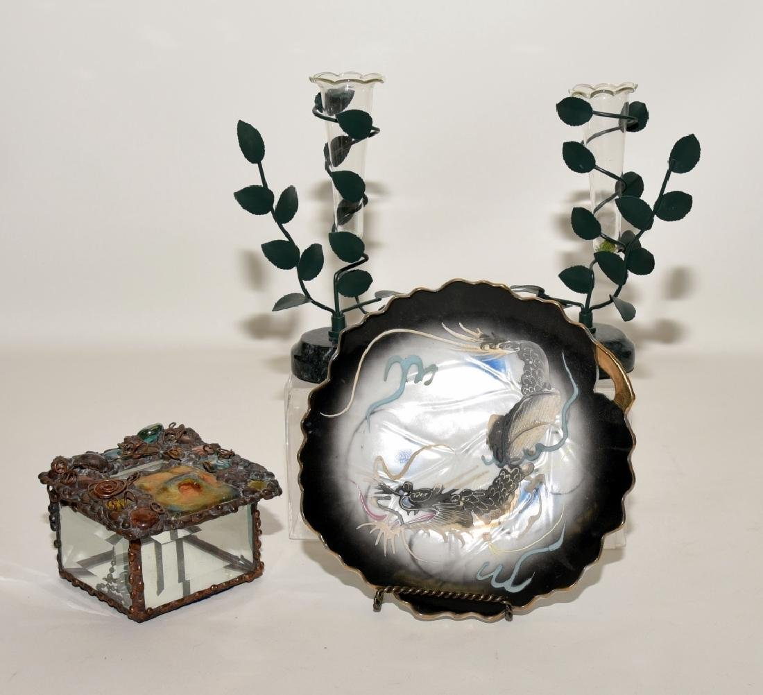 Japanese Dragon Plate, Mirrored Box & 2 Vases