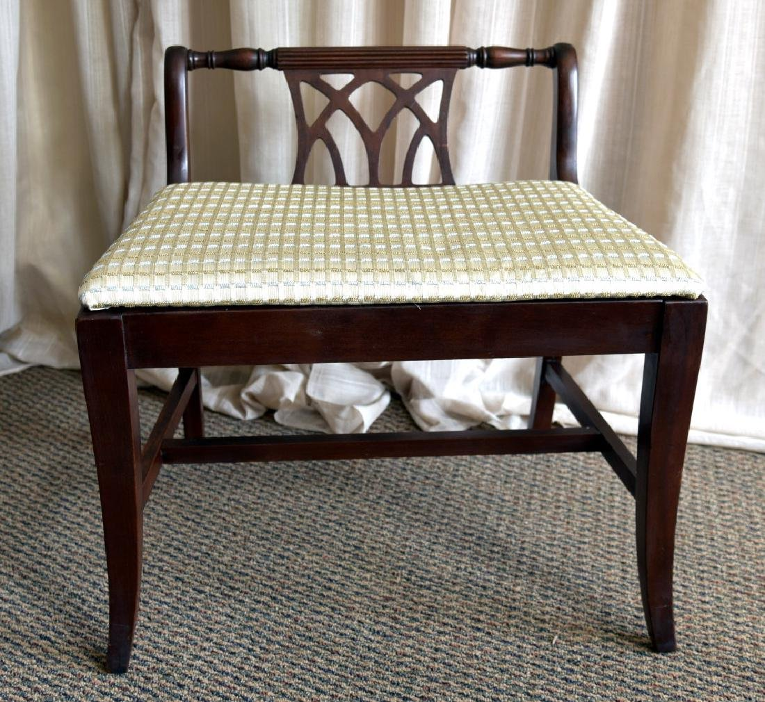 Vintage Low Back Classical Style Vanity Bench