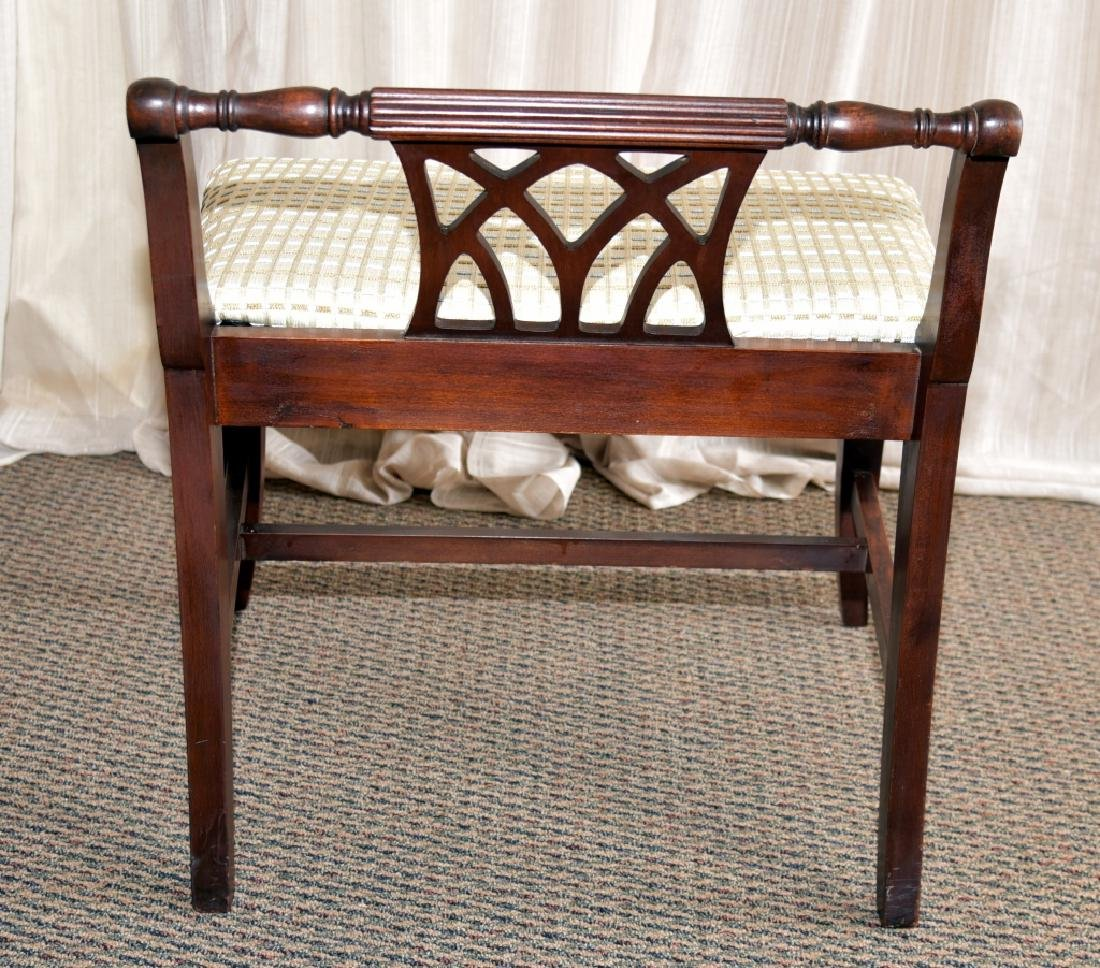 Vintage Low Back Classical Style Vanity Bench - 3