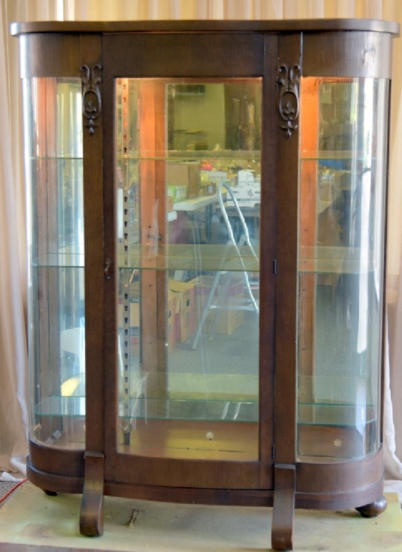 Empire Style Curved Glass Curio