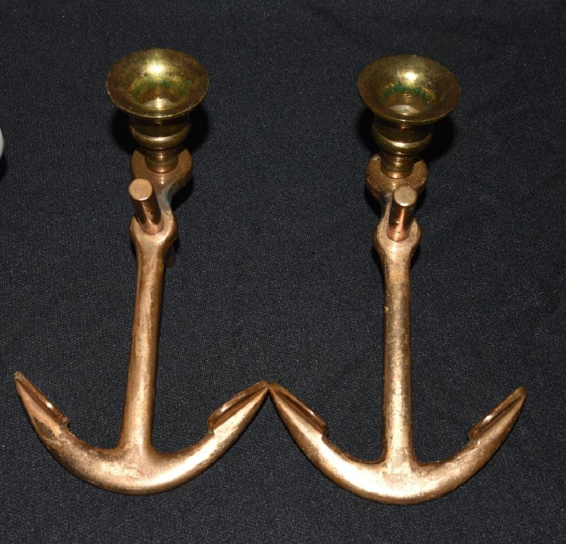 7 USS Mugs & Brass Anchor Candleholders - 2
