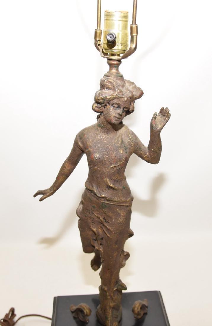 Classical Figural Lamp Raised on Black Block - 2
