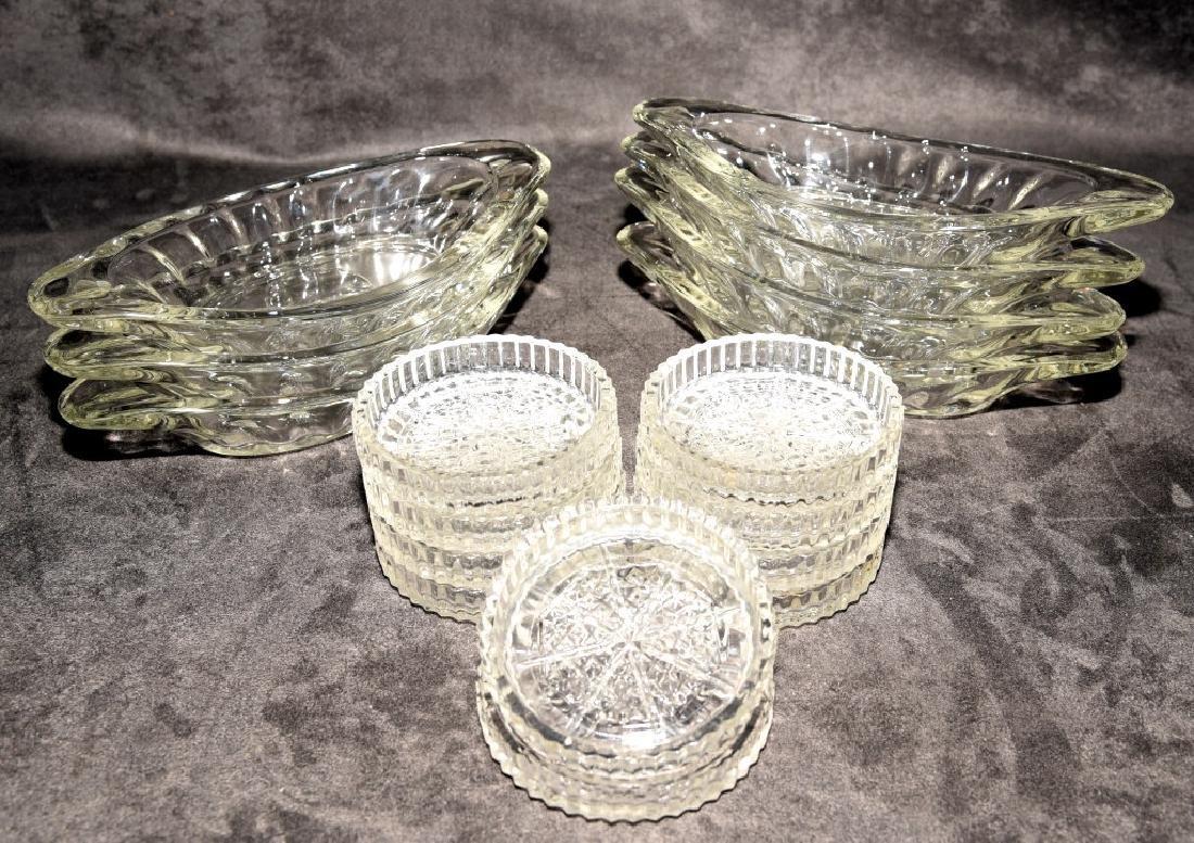 Heavy Glass Ice Cream Dishes & Pressed Coasters