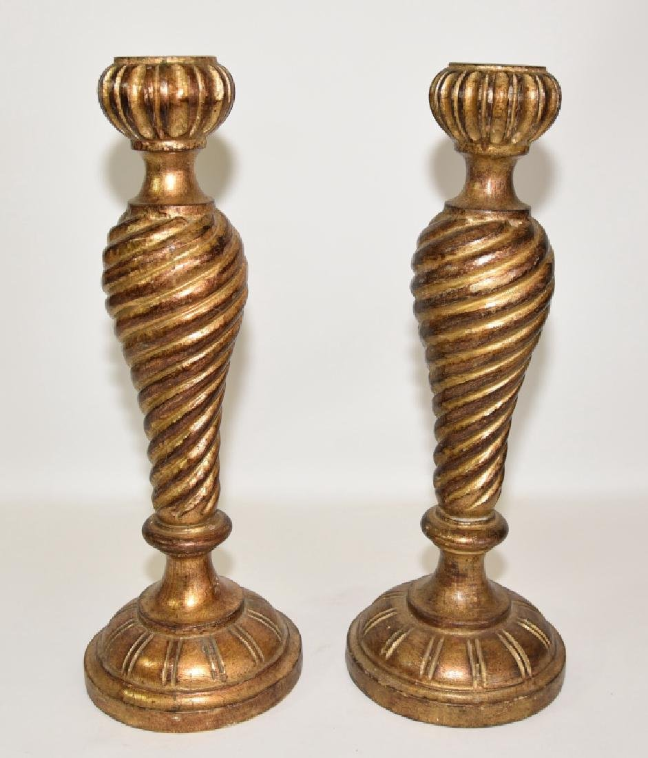 Pair Italian Florentine Wooden Candle Holders