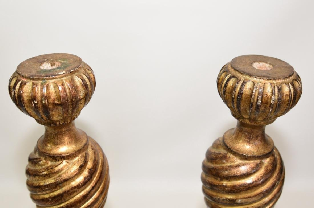 Pair Italian Florentine Wooden Candle Holders - 2