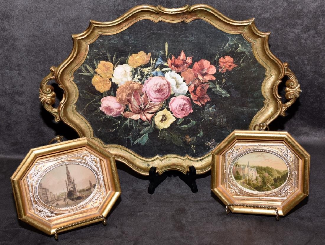 Hand colored Prints & Decorative Tray w/Roses