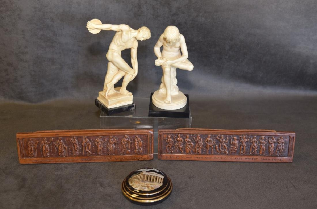 Greek Statues, Ceramic Wall Plaques & Covered Dish