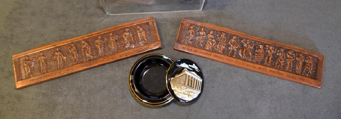 Greek Statues, Ceramic Wall Plaques & Covered Dish - 2