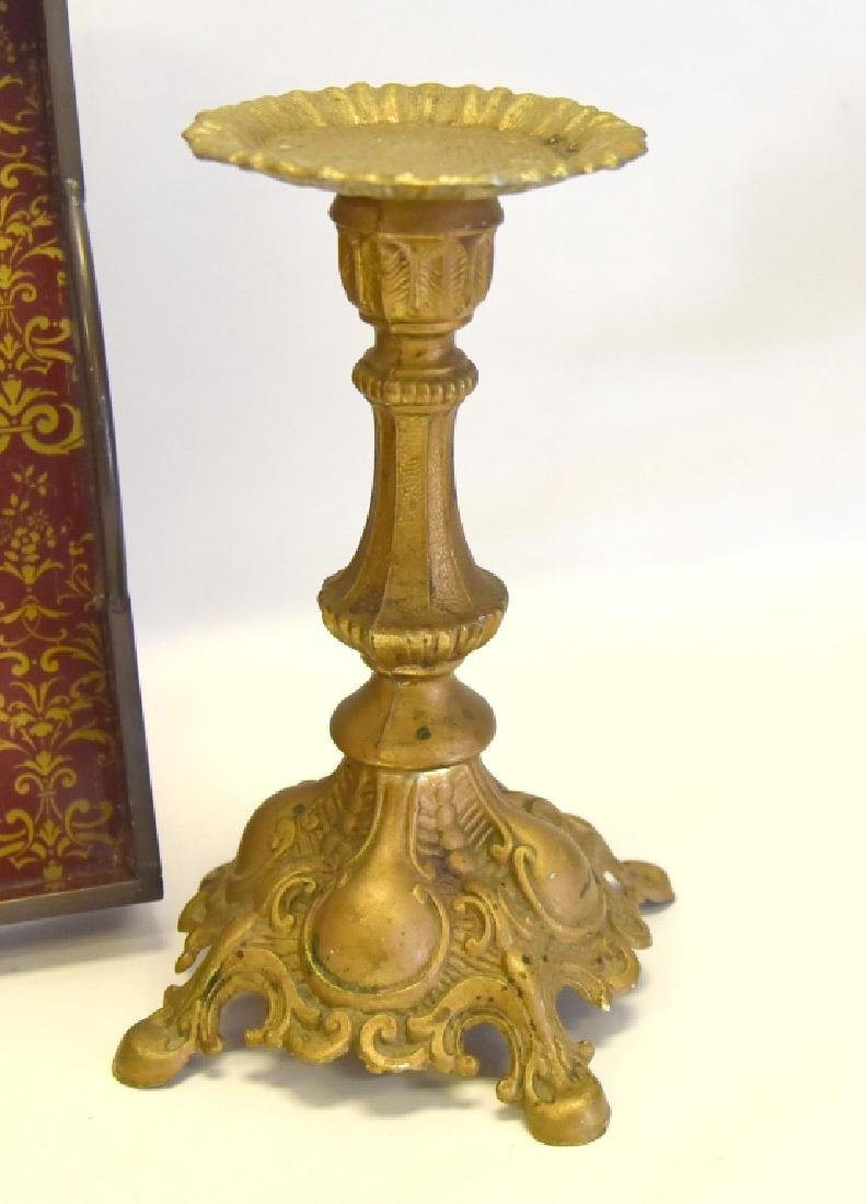 Brass Pillar Candleholders and Handled Tray - 2