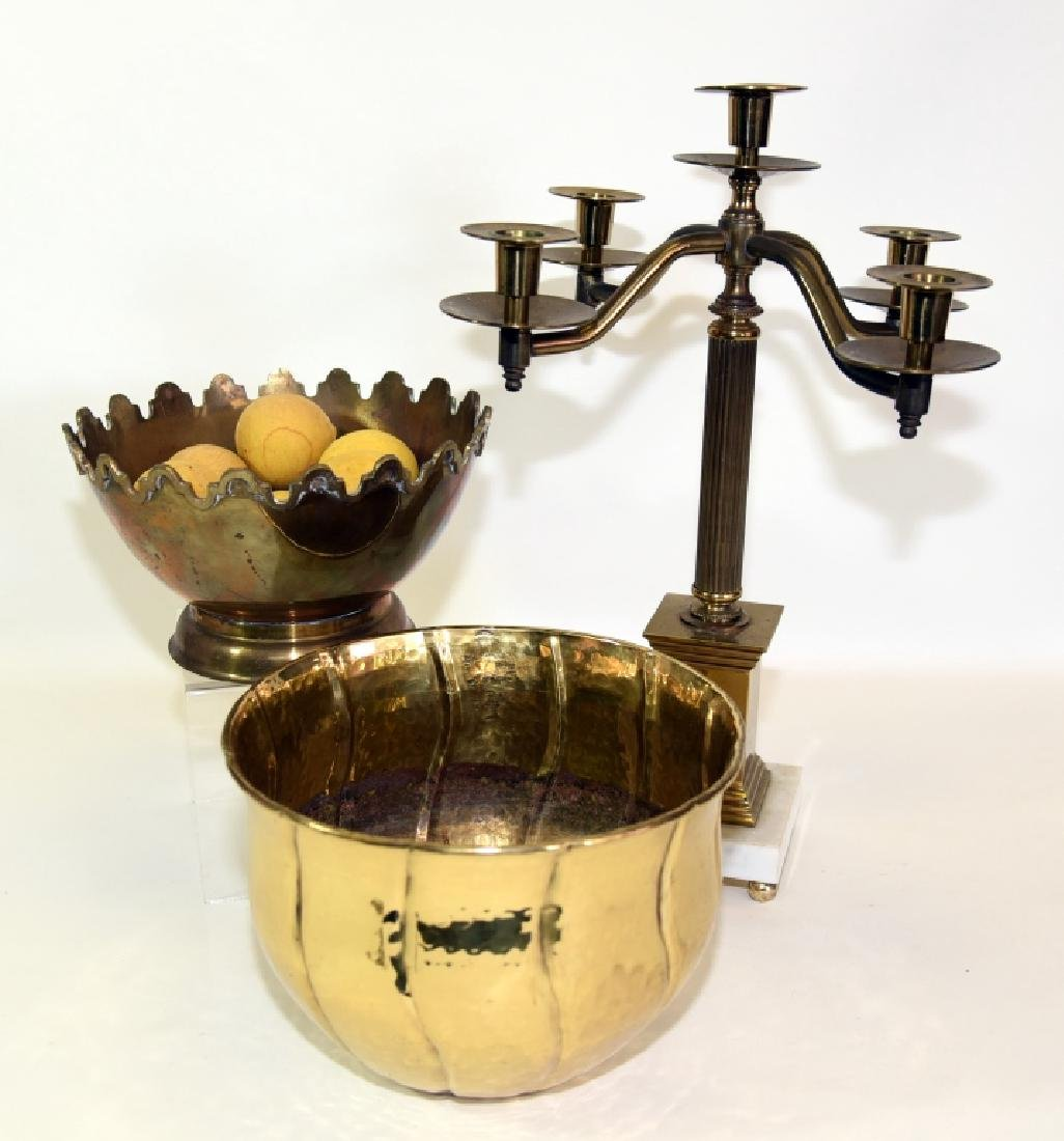 Classical Brass Candelabra and Two Brass Bowls