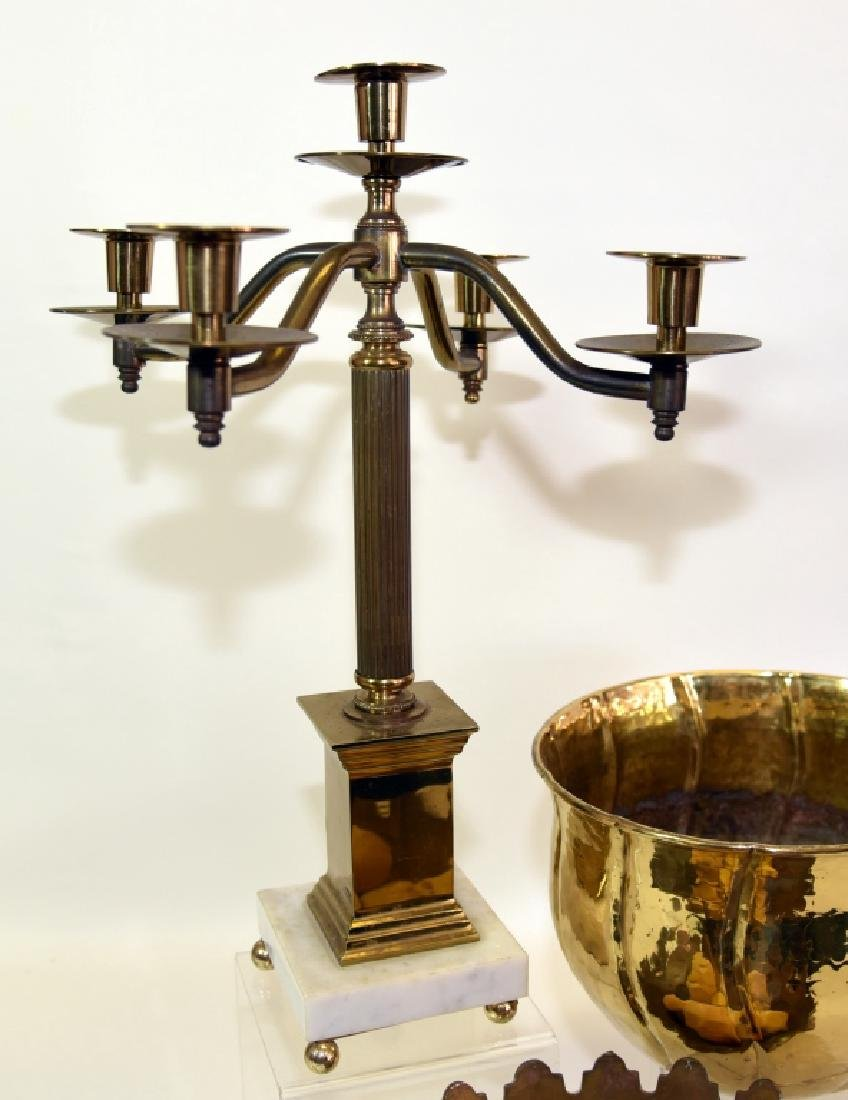Classical Brass Candelabra and Two Brass Bowls - 2