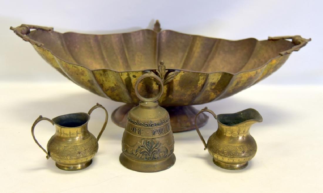 Brass Lot w/Large Bowl, Bell, Cream & Sugar