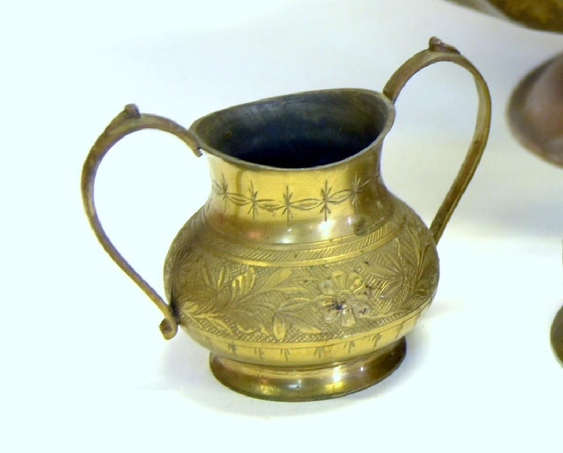 Brass Lot w/Large Bowl, Bell, Cream & Sugar - 5