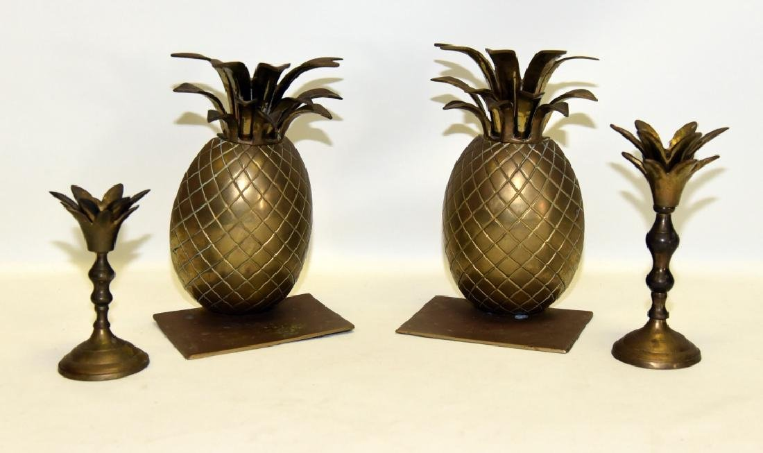 Brass Pineapple Bookends & Candleholders