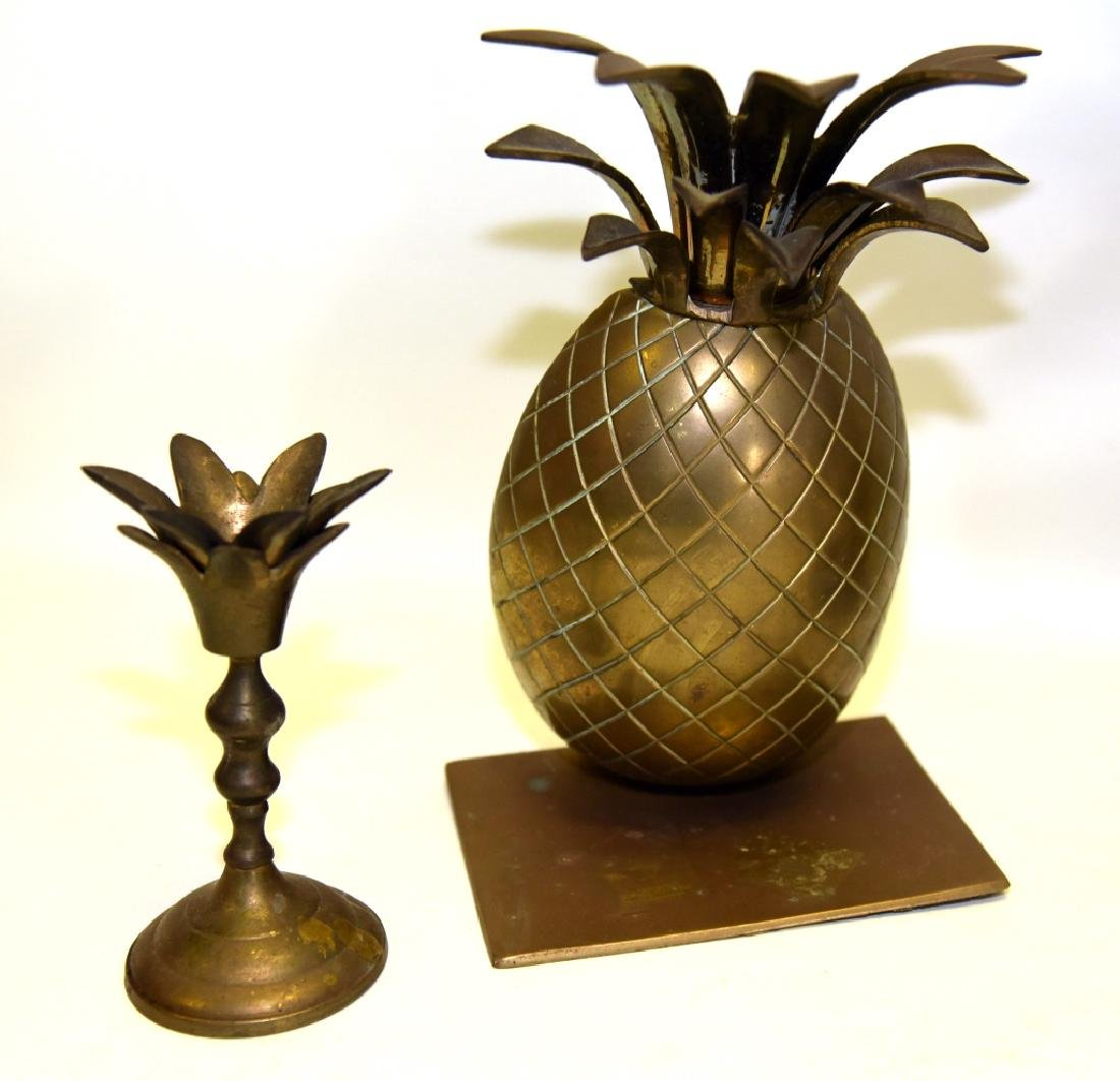 Brass Pineapple Bookends & Candleholders - 3