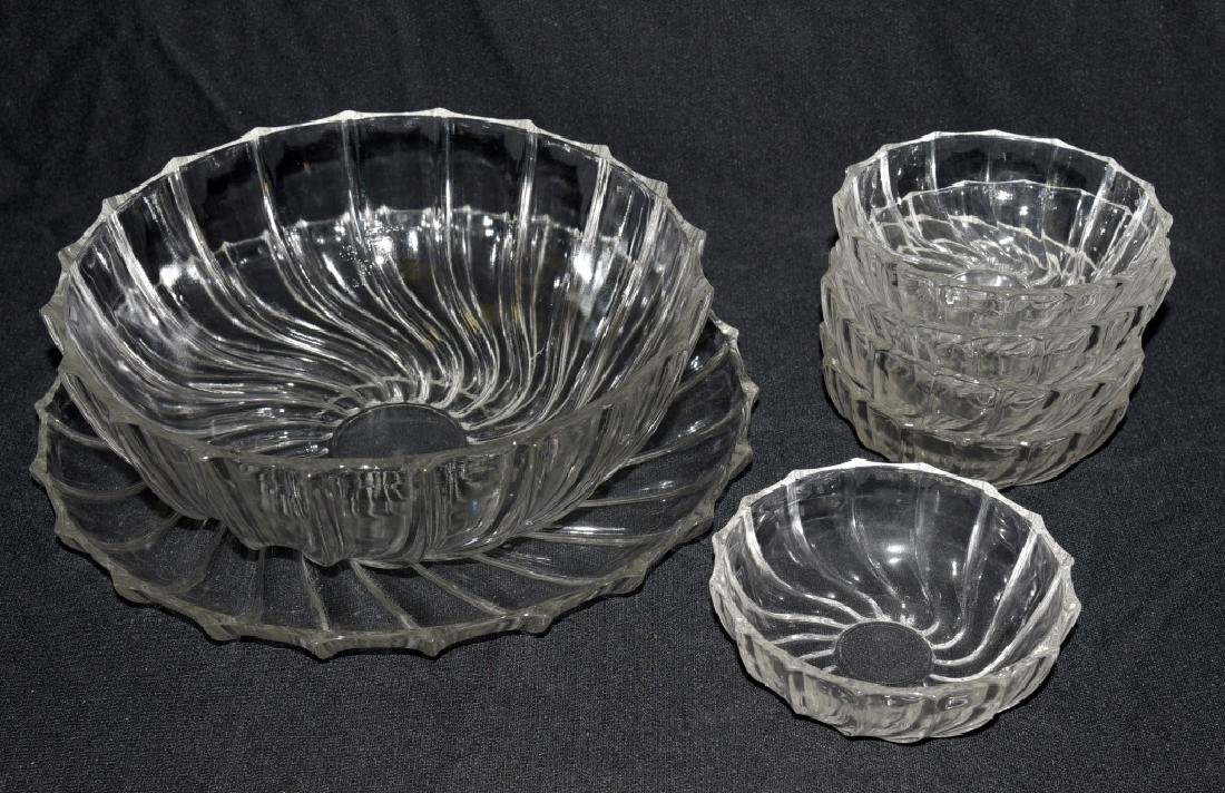 Vintage Swirling Glass Bowls & Under Plate