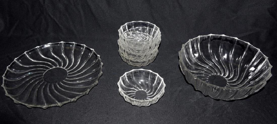 Vintage Swirling Glass Bowls & Under Plate - 2