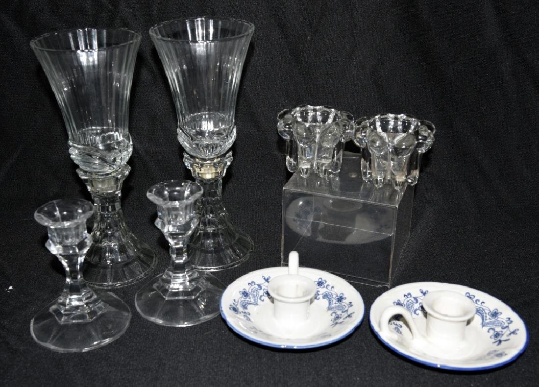 3 Sets Glass Candleholders & 2 Ceramic