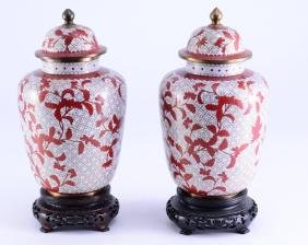 Pair Chinese Cloisonne Ginger Jars