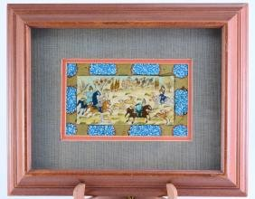 Framed Miniature Persian Painting of Hunt Scene