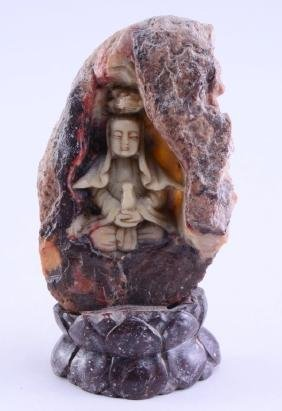 Chinese Soapstone Buddha-in-Cave Carving